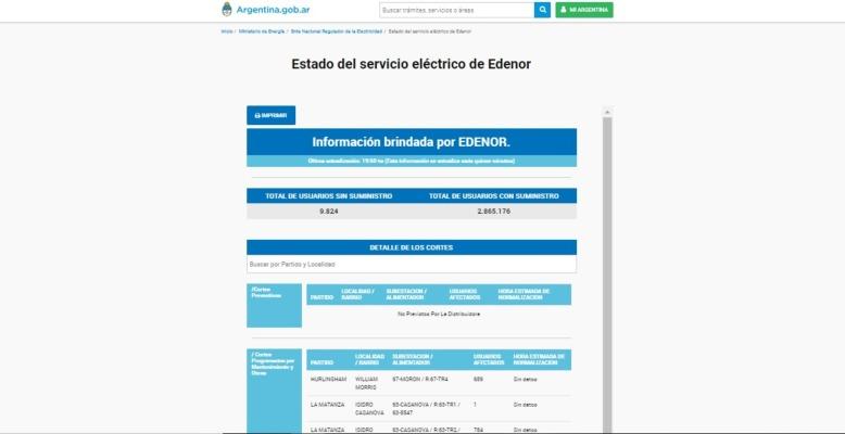 estado del servicio electrico