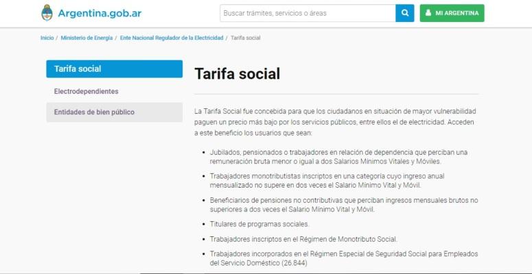 tarifa social