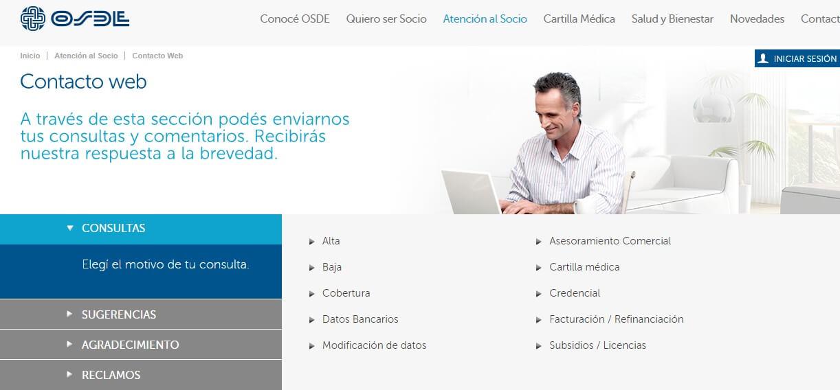 Contacto web OSDE