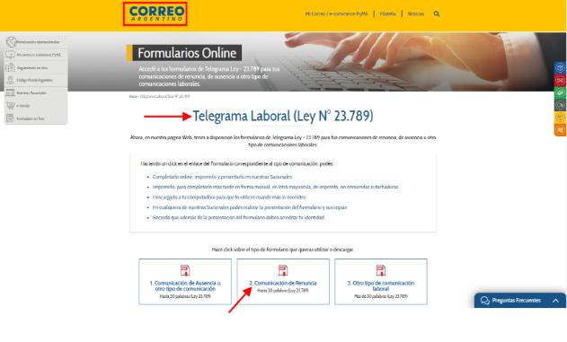 telegrama de renuncia correo argentino